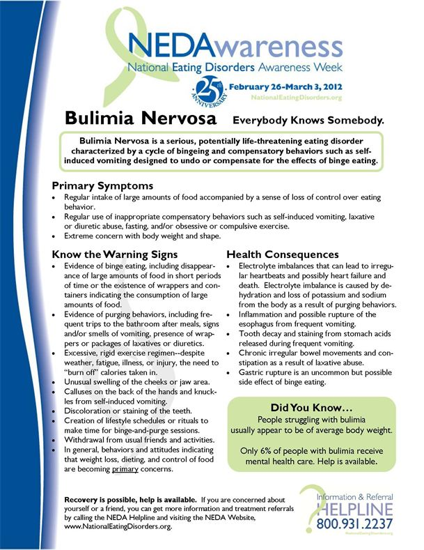 the causes and symptoms of bulimia nervosa Signs and symptoms of bulimia (bulimia nervosa) center on the preoccupation with weight and body shape guilt and shame are core symptoms of bulimia.